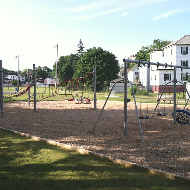 A present-day photo of the new and improved Greenwood Playground in Gardner.