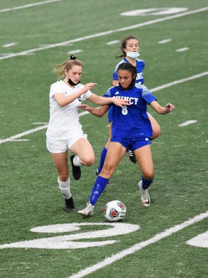Taylor DeSplinter scored the team's first goal in the recent Geneseo Girls' Soccer match against Quincy.