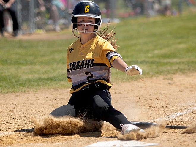 Galesburg High School senior Anna Skinner slides safely into home for a run during the Silver Streaks' 6-4 win over host Abingdon-Avon on Saturday, May 1, 2021.