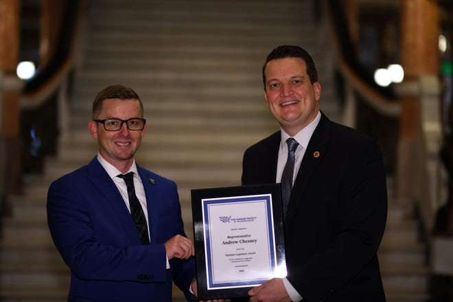 State Rep. Andrew Chesney, R-Freeport, was recently awarded the 2020 Humane Legislator Award by the Humane Society of the U.S. Pictured, from left: Humane Society of the U.S. Illinois State Director Marc Ayers and Chesney.