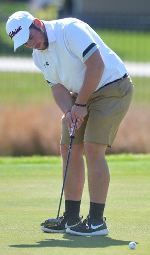 Hesston High School golfer Lucas Roth competes in the Hesston Invitational. Roth tied for 18th out of 84 golfers.