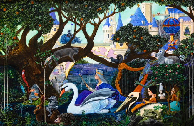 ''Procession of the Swan Queen,'' oil on panel, 2021 Mayfaire by-the-Lake Featured Image.