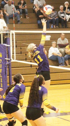 Fowler High School's Kaley Pieper (11) goes up for a kill attempt against Limon in last Saturday's Class 2A Region 5 Tournament at Grizzly Gym. The Grizzlies will play Vail Christian in the first round of the Class 2A State Tournament on May 12.