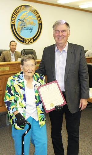 Anna Mary Landauer, left, received a proclamation from Basehor Mayor David Breuer in honor of her 103rd birthday.
