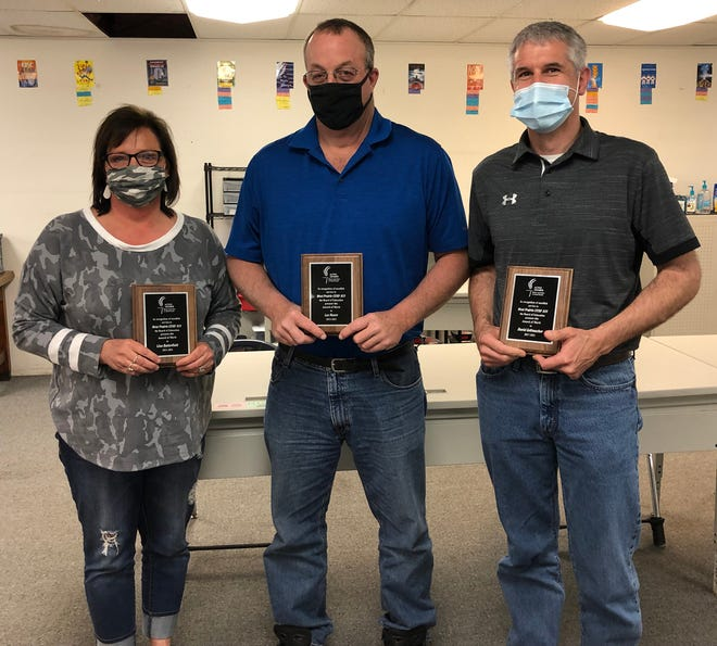 Lisa Butterfield, Lee Moore and David Geltmacher were honored during Thursday's West Prairie Board of Education meeting at West Prairie Middle School. West Prairie Superintendent Guy Gradert presented each outgoing school board memberwith a plaque to thank them for their years of service to West Prairie.