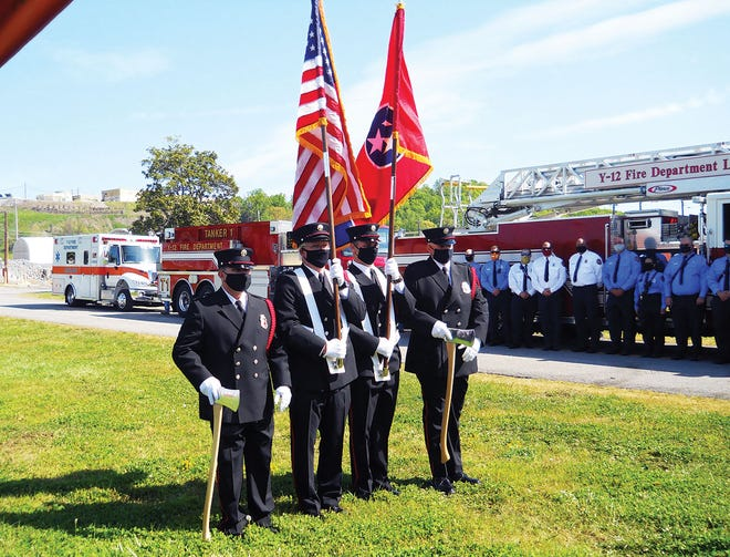 At the groundbreaking and celebration ceremony Tuesday, Y-12 firefighters presented the colors while their co-workers watched.