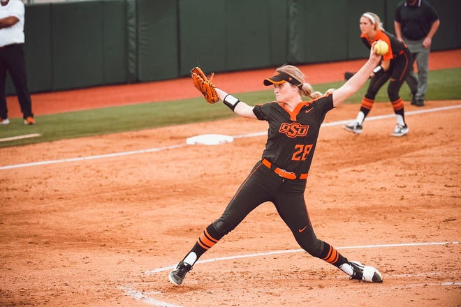 OSU pitcher Kelly Maxwell earned a win and a save during the Cowgirls' three-game sweep of Texas over the weekend.