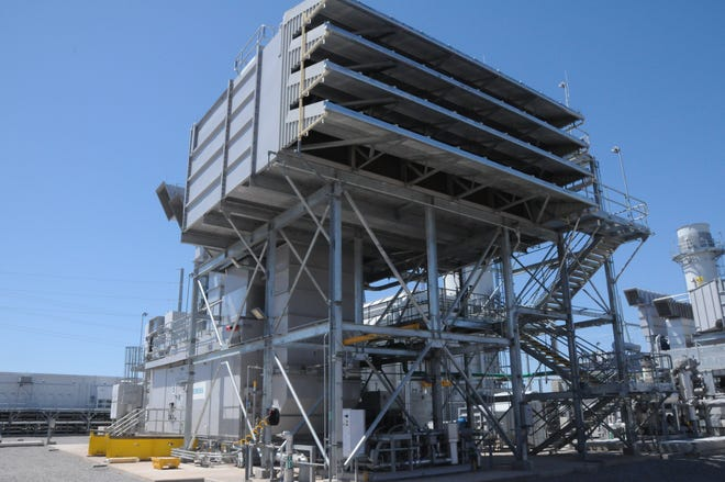A high efficiency natural gas unit operates at Oklahoma Gas and Electric Co.'s Mustang Energy Center in west Oklahoma City.