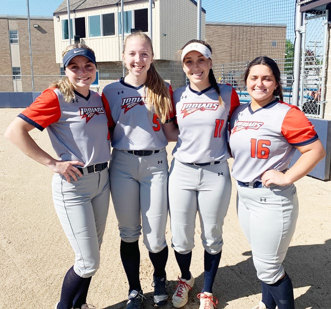 Pontiac Township High School recognized its six senior softball players on Senior Day Friday. The seniors are, from left, Alyssa Fox, Sydney Shepherd, Addison Masching and Peyton Trost. Absent from the photo are Audrey Sutton and Grace Myers.