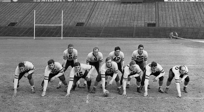 The Chicago Bears pose in their starting lineup at Griffith Stadium in Washington, D.C., on Dec. 7,  1940, the day before facing Washington in the NFL Championship. Front row, from left: George Wilson, right end; Lee Artoe, tackle; George Musso, guard; Clyde Turner, center; Dan Fortmann, guard;  Joe Stydahar, tackle; and Bob Nowaskey, left end. Back row, from left: George McAfee, halfback; Bill Osmanski, fullback; Sid Luckman, quarterback; and Ray Nolting, halfback.