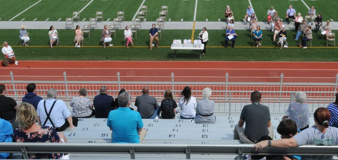 Superintendent for USD 305 Salina Public Schools Linn Exline honored staff who completed 25 years worth of service, teachers of the year, and retirees during the USD 305 Salina Public Schools recognition ceremony at Salina Stadium on Sunday afternoon.