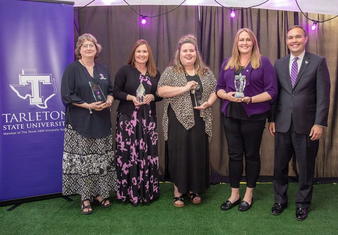 Tarleton State University presented its annual Staff Awards on April 19 during a dinner to celebrate the 2020 and 2021 recipients. Pictured are, from left, 2020 recipients Julie Phillips, Jo Anna Ince, Callie Fender, Lauren Gillespie and President James Hurley.