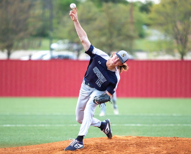 Stephenville righthander Bryson Dill, seen here in action earlier in the year against Glen Rose, is 8-1 overall with a 1.12 ERA.