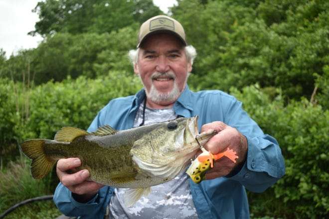 Bryant Sheets shows off a chunky bass that went for a 22-Five Mechanical frog earlier this week.