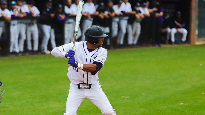 The Texans strung together six runs in the third against the Northern Colorado Bears on Sunday in Greeley, Colorado, to take the lead. Kemuel Thomas-Rivera, pictured, homered to left field to bring in two runs as the Texans went on to win, 21-5.