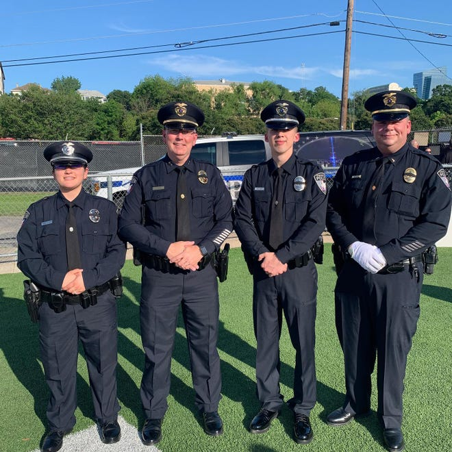 From left, Stephenville Police Officer Maureena Salazar, Chief Dan Harris, Officer Hayden Bridges and Lt. James Gresham represented the department at Sunday's Texas Peace Officers' Memorial and Candlelight Vigil in Austin.