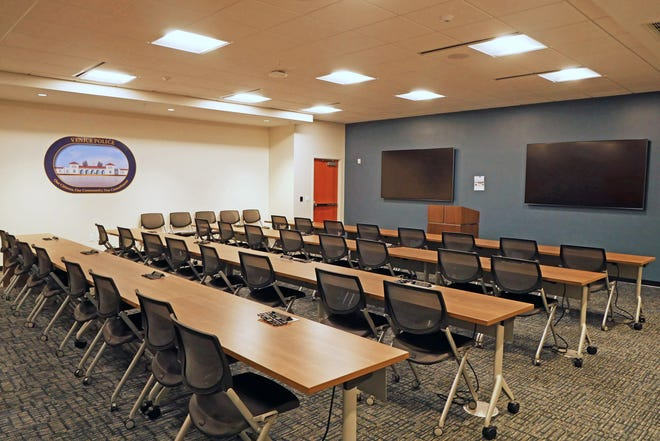 The community room at the new Venice Public Safety Complex is available for resident use. It also doubles as a media room when the police department hosts news conferences and can be used for training. It also can be used by families of first responders during hurricane alerts.