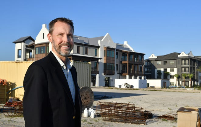William Skaggs, the new CEO of the Players Centre for Performing Arts, stands on the future site of a new theater complex in Waterside at Lakewood Ranch. Skaggs was hired in October, in the midst of the pandemic, just as the company was moving out of its longtime home, and will lead the community theater into a new era as it continues to raise money for a new theater complex in Lakewood Ranch and establishes a more temporary performance space later this year.