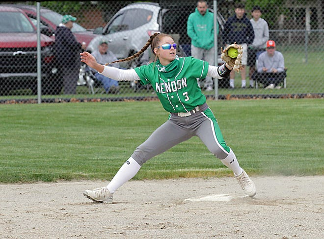 Mendon second baseman Izzy Smith snags a throw to record an out against Marcellus on Saturday morning.