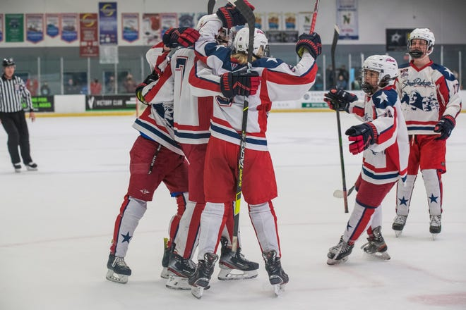 Team South Dakota 14U players celebrate a goal during the quarterfinal round of the national hockey tournament in Dallas, TX. Team SD lost to the Alaska Stars, 2-6. Photo Credit: Tiffany Sanderson