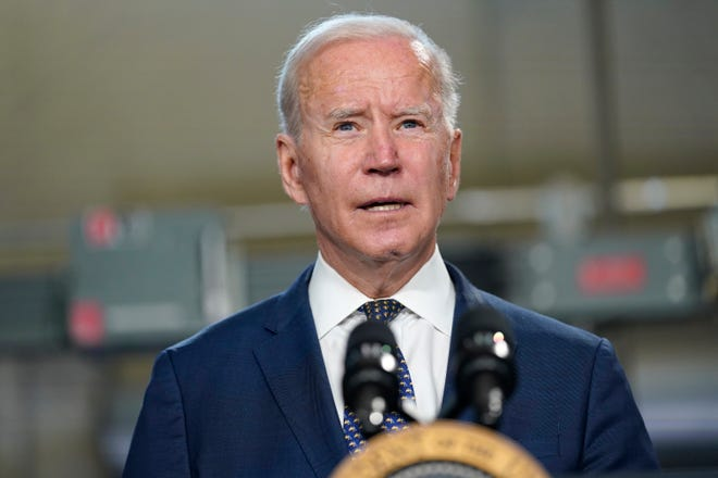 President Joe Biden speaks at Tidewater Community College, Monday, May 3, 2021, in Portsmouth, Va. He is scheduled to deliver the keynote address during the May 19 graduation ceremonies at the U.S. Coast Guard Academy in New London.