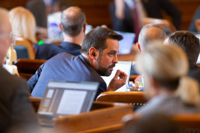 Rep. Mark Samsel, R-Wellsville, sits in on a recent session in the House at the Kansas Statehouse.