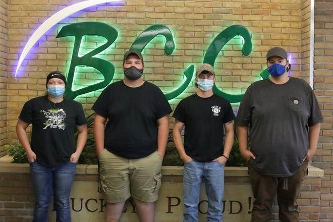 Buckeye Career Center student Cole Hockenberry recently achieved gold in the SkillsUSA state motorcycle contest, qualifying him for the national competition.  Pictured, from left: PaytonCurley, Cole Hockenberry, Logan Wallace and Bryan McClure