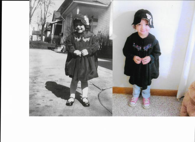 At left, Ruth Geiser Schmidt at 4-years-old, wearing the coat her mother, Bertha, made for her in 1934. At right, 3-year-old Hannah Schmidt, Ruth's great granddaughter, and daughter of Adam and Sarah Sweitzer Schmidt of New Philadelphia, wears the coat today.