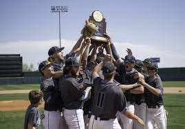 The Pueblo West High School baseball team celebrate with the Class 4A State Baseball Championship trophy after defeating Silver Creek on June 1 in Colorado Springs Colo.