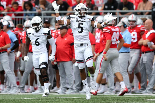 Cincinnati safety Darrick Forrest celebrates a third-down stop against Ohio State in 2019. Forrest, a 2017 Walnut Ridge graduate, was selected in the fifth round of the NFL draft May 1 by the Washington Football Team.