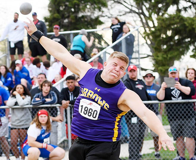 Watertown's Cooper Mack competes in boys' shot put on Friday during the opening day of the Dakota Relays at Howard Wood Field in Sioux Falls. Mack won the event with a toss of 64 feet, 9.5 inches and also added a victory on Saturday in the discus with a throw of 172-4.