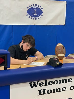 Last week, in the Scituate High School gymnasium, kicker Nolan Startzell signed a Letter of Intent to play for Franklin Pierce University.