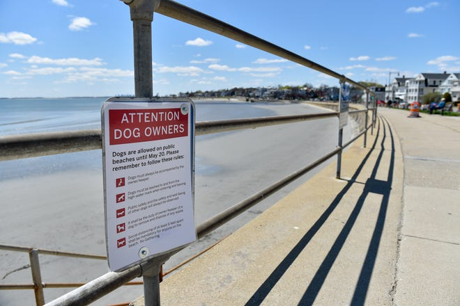 A sign posted on the handrail over looking Kings Beach reminds people about social distancing with their dogs on Tuesday, May 5, 2020. [Wicked Local Staff Photo / David Sokol]