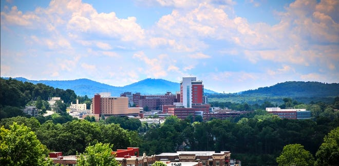 View of HCA Mission Hospital campus in Asheville