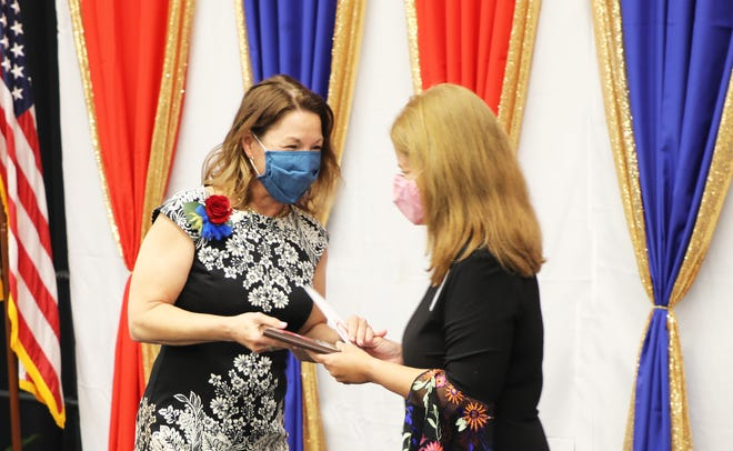 Peggy Hamrick (left) won Teacher of the Year at T.M. Clark Elementary on Thursday, April 29, 2021.