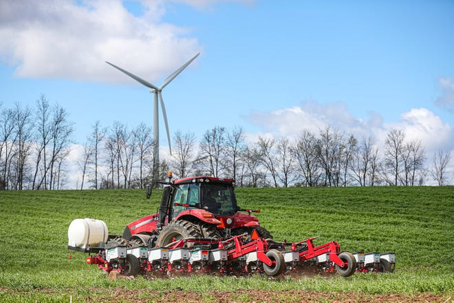 Chad Tasch plants corn seed in an untilled field of cereal rye along St. Paul Road near Pipe. Instead of plowing, the roots of the rye help to loosen the soil while the no-till planter makes a furrow and quickly covers  up the seed.