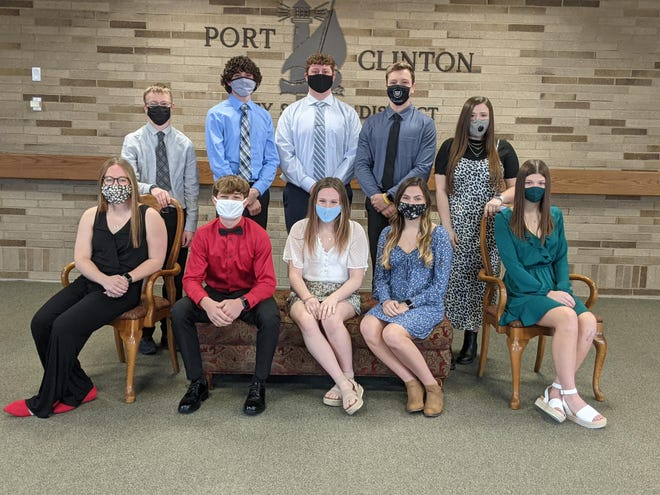 Port Clinton High School named its Top Ten. Pictured left to right in front are: Claire Snyder, Elliot Auxter, Hannah Cross, Kierstin Sherer, and Averie Webb. Standing are: Steven Holly, Connor Bechtel, Michael Recker, Noah Shaw, and Rebekah Koehl.