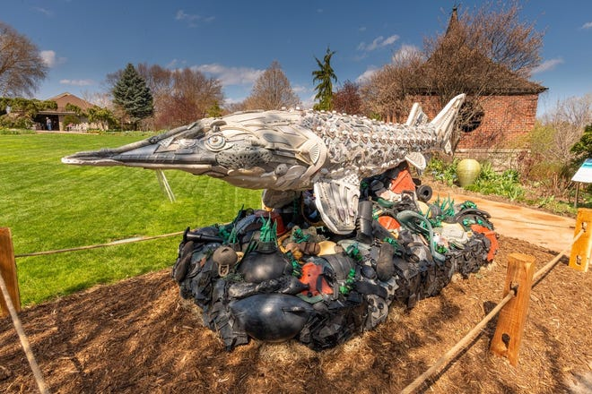 "Stanley the Sturgeon is making his debut in Green Bay as part of the traveling exhibit, ""Washed Ashore: Art to Save the Sea,"" which opens May 8 at Green Bay Botanical Garden."