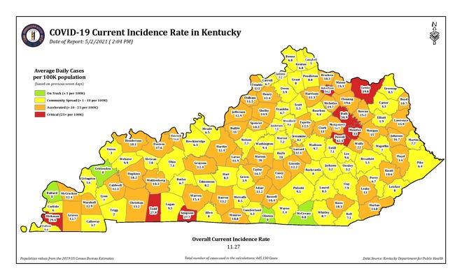 The COVID-19 current incidence rate for Kentucky as of Sunday, May 2.