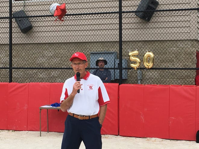 Outgoing league president Rob Kochon speaks to the crowd at Sunday's opening ceremonies for West Lafayette Youth Baseball & Softball. Kochon spent the last 37 years in several roles – coach, volunteer, board memberand the last 20as president.