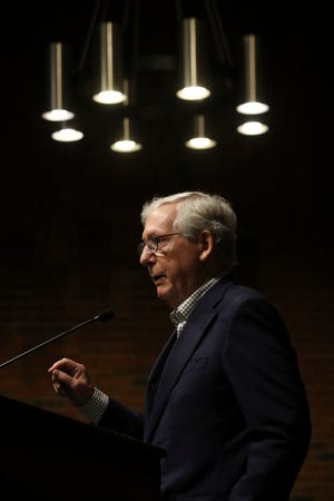 Senator Mitch McConnell speaks at a press conference after touring the Regional Biocontainment Lab - Center for Predictive Medicine at the University of Louisville on Monday, May 3, 2021