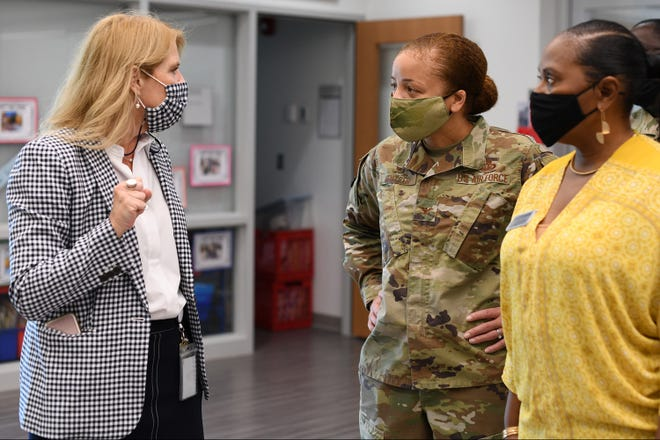 Col. Eries Mentzer, 42nd Air Base Wing Commander, attends a tour of Maxwell Elementary and Middle School led by Jamie Pittman, Principal of Maxwell Elementary and Middle School, April 27, 2021. The school provides educational opportunities to residents of Hunt Military Communities Housing and Maxwell Air Force Base FamCamp.