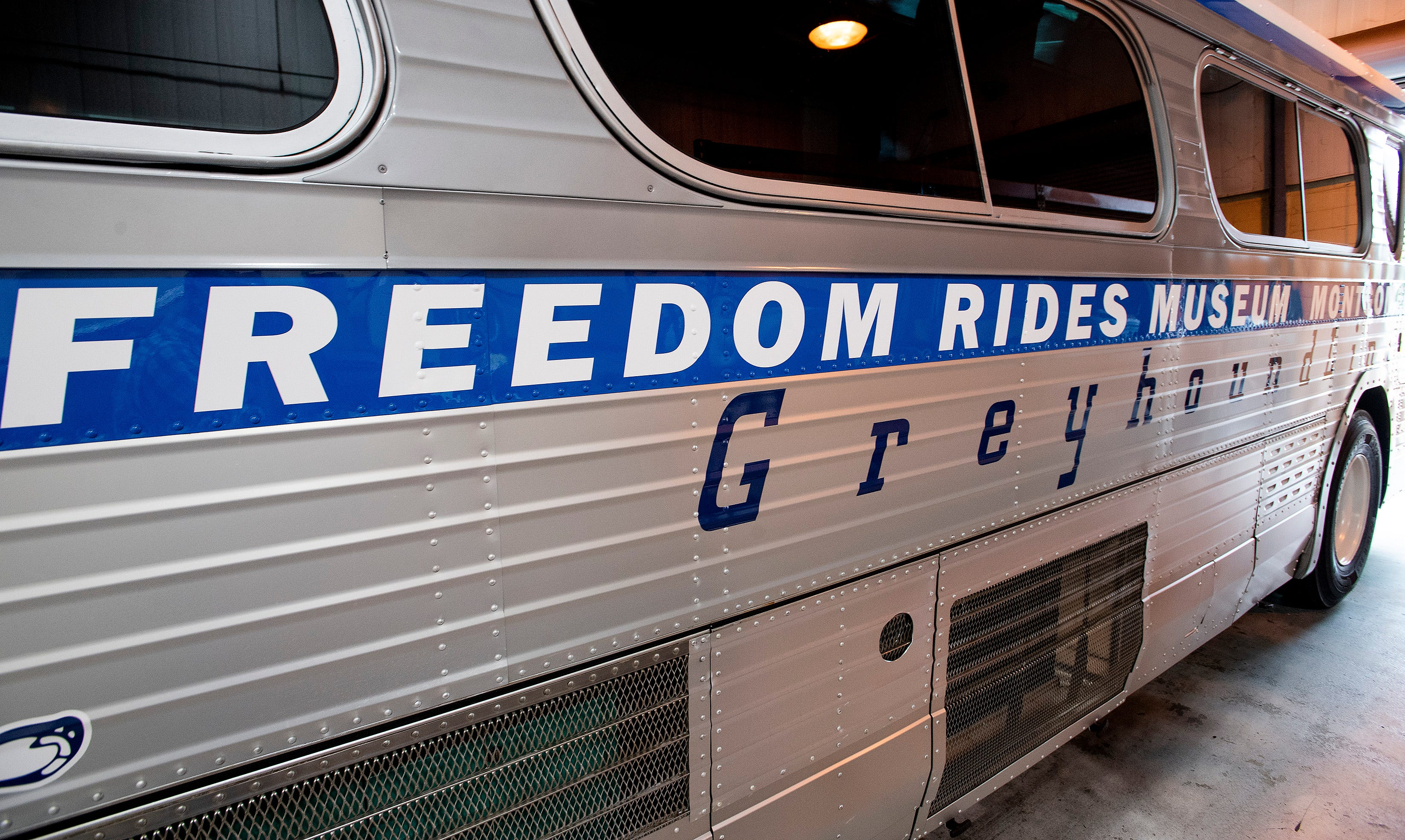 The restored vintage Greyhound bus that is to be unveiled at the Freedom Rides 60th Anniversary Event on Tuesday May 4 in Montgomery, Ala., is seen on Wednesday May 3, 2021.