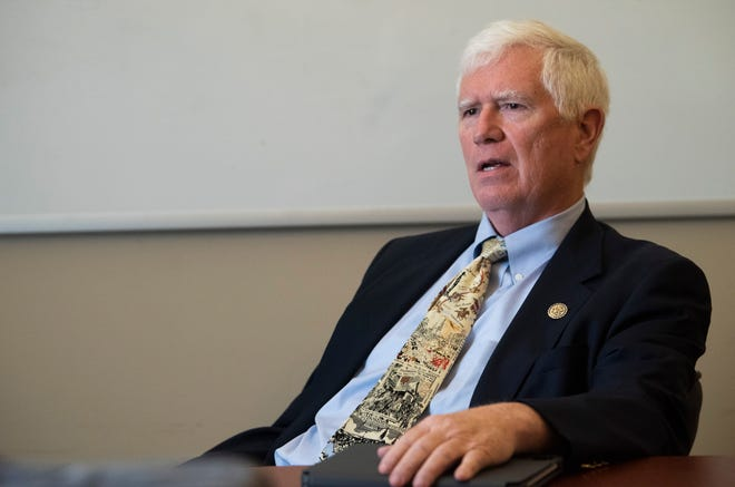 U.S. Rep. Mo Brooks, R-Huntsville, sits down for an interview in Montgomery, Ala., on Monday, May 3, 2021.