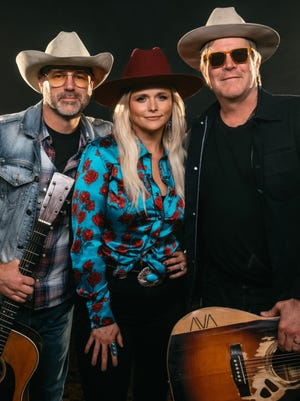 """Jon Randall (left), Miranda Lambert and Jack Ingram release """"The Marfa Tapes,"""" a new country music album recorded live in rural Texas, on May 7, 2021."""