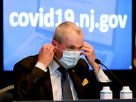 NJ Governor Phil Murphy masks up at the conclusion of his Monday, May 3, 2021, COVID-19 briefing delivered at the War Memorial in Trenton.