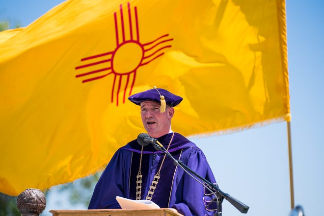 Western New Mexico University President Joseph Shepard addresses the graduates during a past WNMU commencement ceremony in Silver City, NM.