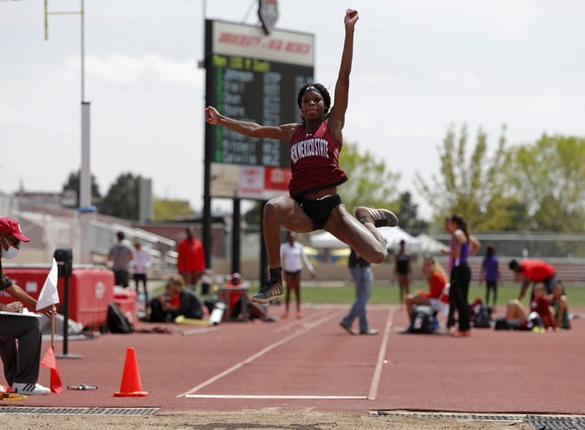 New Mexico State's Dascha Robinson jumped a career-best 13.32m at the Desert Heat Classic in Tucson, Ariz., on May 1, 2021.