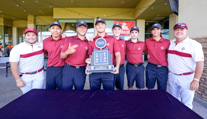 The NM State men's golf team held on to a six-stroke lead Sunday, May 2, 2021 for its first WAC Championship since 2015.