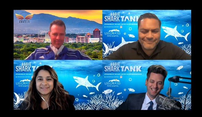 """Aggie Shark Tank """"sharks"""" discuss the event. Drew Tulchin, top left, is president of New Mexico Angels investment group. Beto Pallares, top right, is Arrowhead Innovation Fund manager. Bottom left is Isabella Ortiz, an investment analyst at 4S Bay Partners and bottom right is Aggie Shark Tank moderator Garrett Weinzierl."""